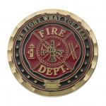 """1.75"""" Antique Gold Fire Prayer Coin with Wave Cut Edge"""
