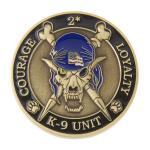 K9 Skeleton Coin (Antique Gold w/ Blue)