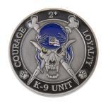 K9 Skeleton Coin (Antique Silver w/ Blue Hat)
