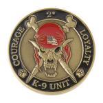K9 Skeleton Coin (Antique Gold w/ Red Hat)